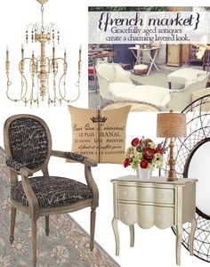 French Market - The charm of classic European antiques adds rich layers to your home decor. Bring in painted chandeliers with distressed finishes and crystal accents; furniture with carved details and gently scrolled legs; and textiles with subtle pattern and washed texture.  #lampsplus and #mystyle