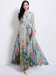 Stylish Light Blue V-Neck Sash 3/4 Length Sleeves Womens Maxi Dress