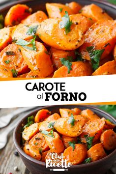 Carote al Forno - Best Pins italian Cena Light, Baked Carrots, Good Food, Yummy Food, Cooking Recipes, Healthy Recipes, Best Dinner Recipes, Curry, Italian Recipes