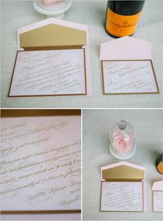 a surprise bridal shower? yes please! pink and gold wedding invite styled by http://www.brookekeegan.com/ photo by