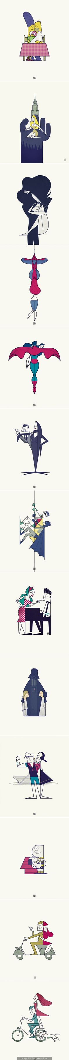 Famous Pop Culture Couples Illustrations by Ale Giorgini
