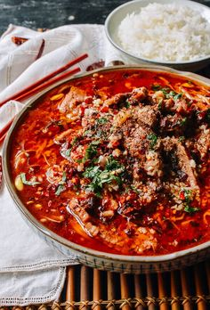 Sichuan Boiled Beef (水煮牛肉 - Shuizhu Niurou) Asian Recipes, Beef Recipes, Cooking Recipes, Chinese Recipes, Asian Foods, Cooking Chinese Food, Asian Cooking, Boiled Beef, Wok Of Life