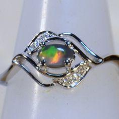 Elegant Solid 18k white gold Solid black opal & diamond dress/engagement ring 13842a