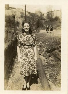 1940s real world floral dress loveliness (photo from 1943).....this is listed on eBay and I really think it's my aunt Lilly, repinning so I can find later