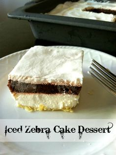 Iced Zebra Cake Crust. 1 ½ cup flour, ¾ cup butter, ½ cup chopped nuts (optional) • 8oz package cream cheese, 1 cup powdered sugar, 12oz Whipped topping • 2 – packages of instant chocolate pudding, 2 ½ cups milk • 8oz Whipped topping 1.Combine flour, butter and chopped nuts (optional), mix well. Press into the bottom of a 9×13 pan. Bake at 350 degrees for 10-15 minutes.