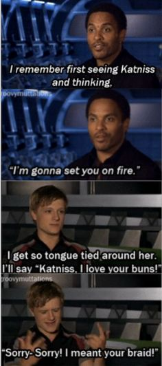 Cinna and Peeta answer questions about Katniss.