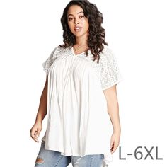 Large Size 2017 Plus Size Women Clothing Summer Tops Women V-Neck Lace T-shirt Vintage Casual Loose White Pink T-shirt Big Tops #Affiliate