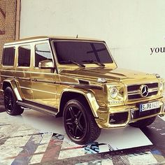 New luxury cars gold mercedes benz 36 Ideas Gold Mercedes, Mercedes G Class, Mercedes G Wagon, Mercedes Jeep, Fancy Cars, Cool Cars, Maserati, My Dream Car, Dream Cars