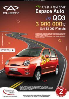 newsletter du concessionnaire automobile Espace Auto à Dakar pour la promotion de la petite citadine chinoise QQ3 de Chery (juillet 2012)