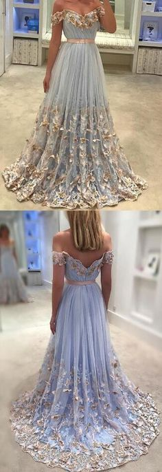Off The Shoulder Prom Dress,Sexy Evening Gowns, Elegant Light Blue Prom Dres,Tulle Prom Dress, Lace Embroidery Prom Dresses 2018 Butterfly Gowns