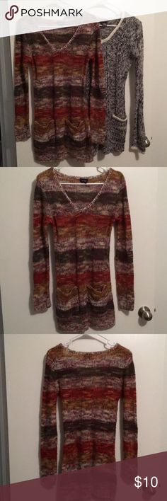 SWEATER DRESS BUNDLE!!! 1st: Rue 21 Multicolored Knit Sweater Dress with 2 Pockets. Size Medium. 100% Acrylic. 2nd: Black, White, and Gray Dots Knit Sweater Dress with 2 Pockets. Size Medium. 100% Acrylic. Rue 21 Dresses