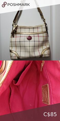 Cream coach purse used Coach Bag: white with multicolored crosshatch detail and pink on the inside, used but good condition, some discoloration on zipper. Coach Bags Shoulder Bags Coach Shoulder Bag, Canvas Shoulder Bag, Shoulder Handbags, Leather Shoulder Bag, Shoulder Bags, Blue Handbags, Coach Handbags, Coach Purses, Coach Bags