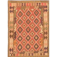 ECARPETGALLERY Anatolian Flat-Woven Brown/Red Area Rug
