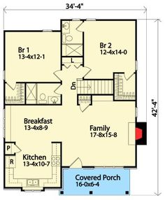 Cabin Country Craftsman House Plan 45157 Level One. No basement. Also, if I was having this built, I would have the bedroom end of the house just be straight across. Cottage Style House Plans, Craftsman Style House Plans, Cottage House Plans, Bedroom House Plans, Two Bedroom, Craftsman Houses, Craftsman Interior, Best House Plans, Small House Plans