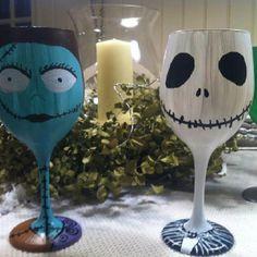 Nightmare before Christmas wine glasses
