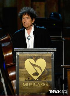 Honoree Bob Dylan speaks onstage at the 25th anniversary MusiCares 2015 Person Of The Year Gala honoring Bob Dylan at the Los Angeles Convention Center on February 6, 2015 in Los Angeles, California. The annual benefit raises critical funds for MusiCares' Emergency Financial Assistance and Addiction Recovery programs. For more information visit musicares.org.  (Photo by Kevork Djansezian/WireImage)