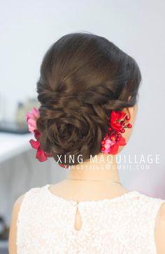Braids, up-do, bun, Asian, wedding, hair, Chinese
