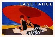 LAKE TAHOE CALIFORNIA COUPLE RED UMBRELLA TRAVEL TOURISM VINTAGE ...