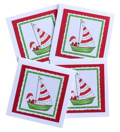 Sailboat Santa Christmas Cards by Lemondaisy Design