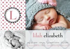 Baby Girl Birth Announcement by JPapers on Etsy