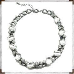 """SALECrystal Candy Gunmetal Chain Necklace White Gold plated metals and glass crystals. 17"""" length.  Stunning piece!! Perfect for the holiday season. . Stands alone or together with another piece like second photo. Quantities are limited. Great quality, nice weight of metal.  A great STATEMENT piece. Real stunner.  Photos courtesy of T & J Designs. HP  T&J Designs Jewelry Necklaces"""