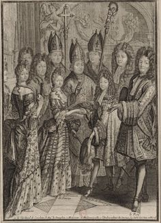1697 (7 December) La cérémonie du mariage de Monseigr le duc de Bourgogne avec Mme la princesse de Savoye dans la chapelle de Versailles le gravure anonyme publiée chez Nicolas Arnoult | Grand Ladies | gogm