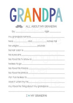 Fathers Day Crafts Discover All About My Grandpa - Fathers Day Gift - 5 x 7 Fill In - Print Your Own Fathers Day Gift Grandpa Grandpa Birthday Gifts, 30th Birthday Gifts, Grandpa Gifts, Birthday Crafts, Dad Birthday, Birthday Quotes, Girlfriend Birthday, Fathers Day Presents, Fathers Day Crafts