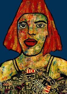"Saatchi Art Artist CARMEN LUNA; Painting, ""10-RETRATOS Expresionistas. Modelo."" #art http://www.saatchiart.com/art-collection/Painting-Assemblage-Collage/Expressionist-Portrait/71968/51263/view"