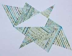 Watercolor on paper, Geometry, Lines, Flying, Unfolding, Abstraction