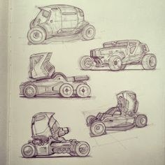Vehicle sketches by concept designer Scott Robertson Workshops
