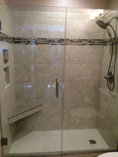 Corian bench and shower threshold