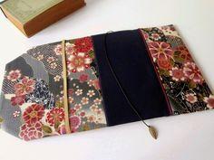 Protège-livre de poche en tissu ajustable avec marque-page (Tissu uni_tissu japonais à motif cerisier/gris_mauve_indigo)