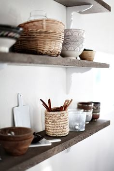 Love these rustic, open shelves in the kitchen.