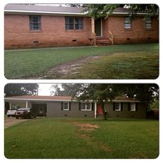 Before and After pic! Painted brick project