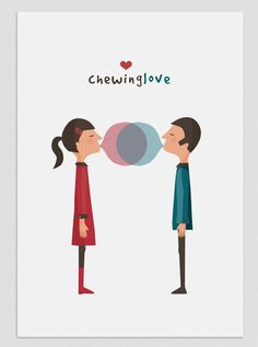 Illustration. Chewing love. $20.00, via Etsy.