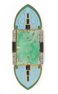 *An art deco enamel, jadeite jade and diamond brooch, French, circa 1935 carved jadeite jade panel measuring approximately: 19.2 x 12.8 x 1.7mm; with French assay mark; mounted in eighteen karat gold.