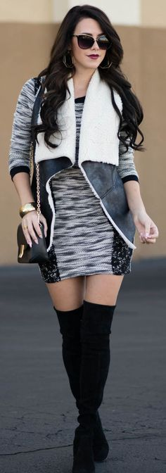 Sweater Dress Shearling Vest Fall Street Style Inspo by Kier Couture Fashion Now, Daily Fashion, Fashion Outfits, Fashion Trends, Fashion Inspiration, Autumn Fashion Casual, Winter Fashion, Casual Fall, Casual Wear