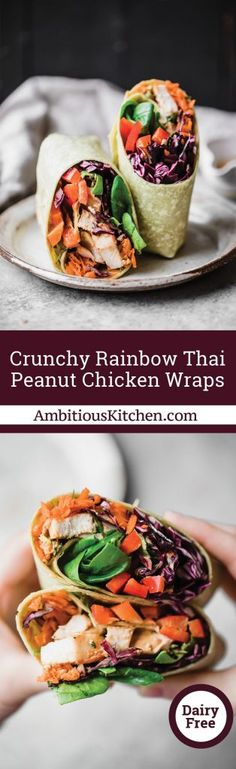 Crunchy Rainbow Thai Peanut Chicken Wraps - could sub tofu or turn into a noodle salad