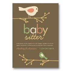 Mod Birds Baby Sitter Business Card Templates. Cute, whimsical mother bird and child on personalized business card.  #businesscards http://www.zazzle.com/ctek101*