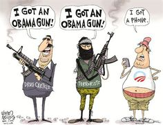 This is a political cartoon by Glenn McCoy. In this cartoon you have three different types of people all portrayed in a stereotypical way. The drug cartel man and terrorist man have machine guns, while the American man has a beer belly with an Obama related logo on his tank top and instead of a weapon all he has is a cell phone. http://m.townhall.com/political-cartoons/glennmccoy/2013/09/18/112305