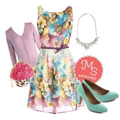 In this outfit: Pottery Painting Party Dress in Pastel, Charter School Cardigan in Lavender, Retrospective Reception Necklace, In a Classic of Its Own Heel in Mint, Betsey Johnson Sweet to the Shop Bag #floral #betseyjohnson #mint #lavender