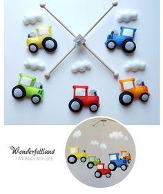 READY TO SHIP/ Tractor Baby Mobile Crib Mobile by wonderfeltland