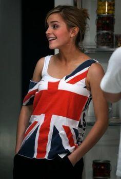 Classy Emma Watson British flag
