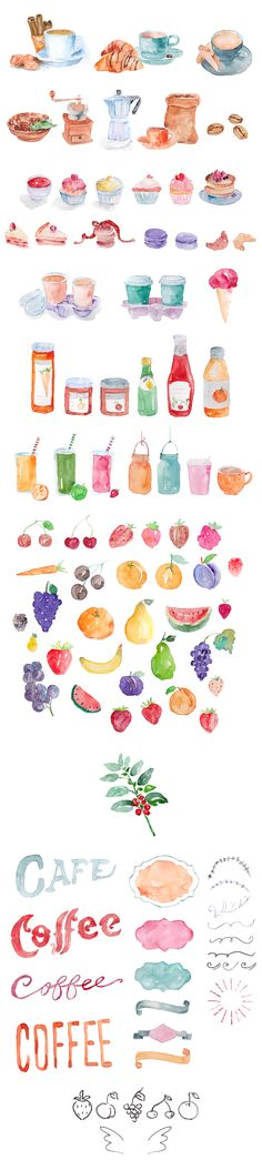 Watercolor Cafe Doodles by emine on @creativemarket
