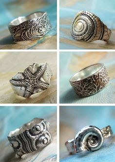 Nautical Jewelry, Beach Jewelry, Ocean Silver Rings by HappyGoLicky Jewelry, CLICK to see 30+ designs. Coupon code PIN10 saves you 10%.