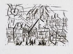 STADT MIT KIRCHE IN DER SONNE By Lyonel Feininger Artwork Description Dimensions: 9,4 x 11,8 in Medium: Woodcut Creation Date: 1918 Signed