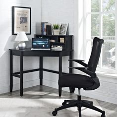 Corner Laptop Writing Desk with Optional Hutch - Black - Desks at Hayneedle