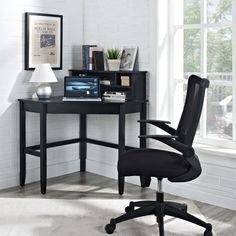 Corner Laptop Writing Desk with Optional Hutch - Black - Desks at Hayneedle