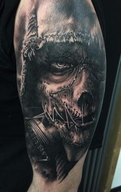 Artist: Florian Karg Evil Tattoos, Creepy Tattoos, Black Ink Tattoos, Badass Tattoos, Body Art Tattoos, Tattoos For Guys, Tattoos Geometric, Modern Tattoos, Skull Sleeve Tattoos