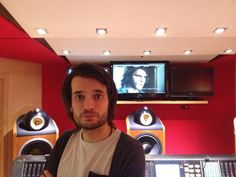 Jonny Greenwood mixing his score for PT Anderson's 'Inherent Vice'; First frame of the film revealed in the background Jonny Greenwood, Radiohead, Hot Guys, Crushes, Jumper, T Shirt, Jacket, Coat, Supreme T Shirt